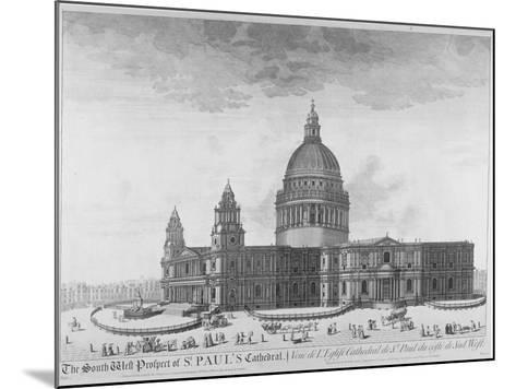 South-West View of St Paul's Cathedral, City of London, 1750--Mounted Giclee Print