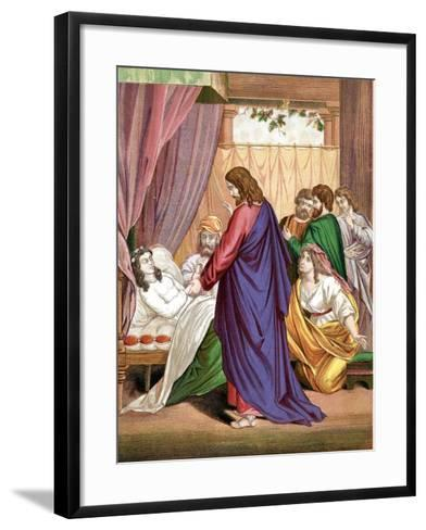 Christ Raising the Daughter of Jairus, Governor of the Synagogue, from the Dead, Mid 19th Century--Framed Art Print