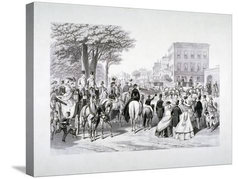 Queen Victoria Riding in a Carriage in Hyde Park, Westminster, London, C1840--Stretched Canvas Print
