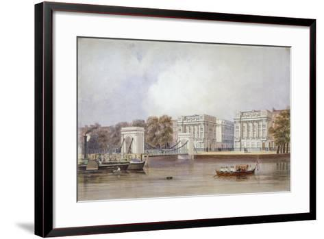 View of Cadogan Pier with Boats on the River Thames, Chelsea, London, C1860--Framed Art Print