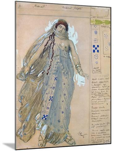 Phaedra. Costume Design for the Drama Hippolytus by Euripides, 1902-L?on Bakst-Mounted Giclee Print