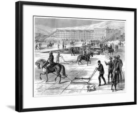 Cutting and Storing Ice on the Hudson River, New York, USA, 1875- Lumley-Framed Art Print