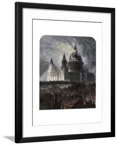 St Paul's Cathedral on Thanksgiving Day, 1872--Framed Art Print