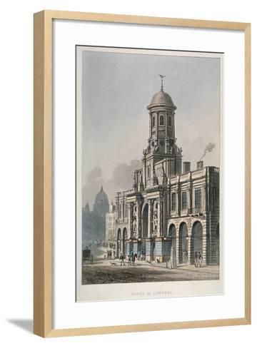 South Front of the Royal Exchange, City of London, 1821--Framed Art Print