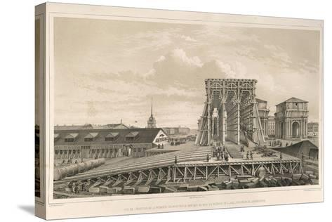 The First Column on the Construction, 1845-Auguste de Montferrand-Stretched Canvas Print