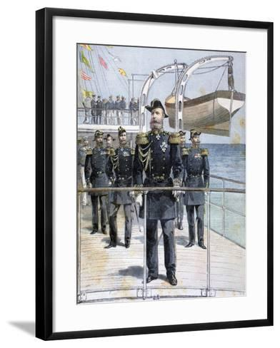 Russian Admiral Avellan on Board the Cruiser 'Emperor Nicholas I, 1893--Framed Art Print