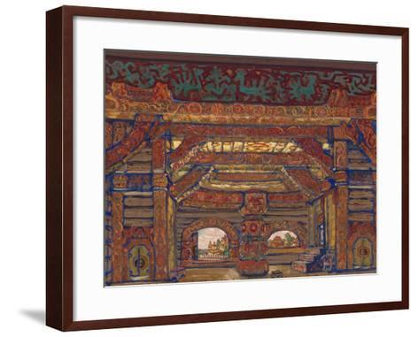 The Palace of Tsar Berendey, Stage Design for the Theatre Play Snow Maiden by A. Ostrovsky, 1912-Nicholas Roerich-Framed Art Print