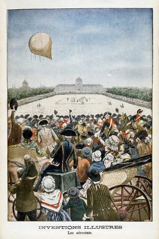Departure of a Balloon from Paris on 27th June 1783--Stretched Canvas Print