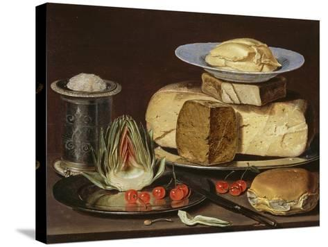 Still Life with Cheeses, Artichoke, and Cherries, Ca 1625-Clara Peeters-Stretched Canvas Print
