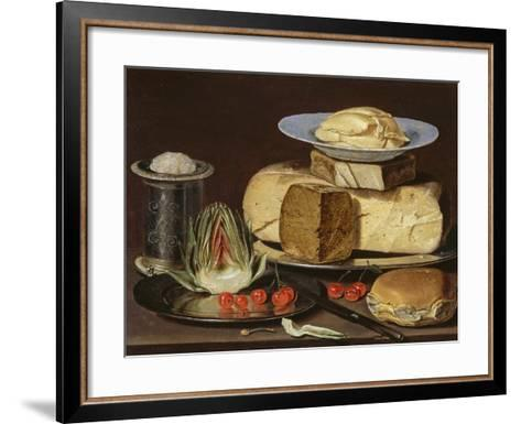 Still Life with Cheeses, Artichoke, and Cherries, Ca 1625-Clara Peeters-Framed Art Print
