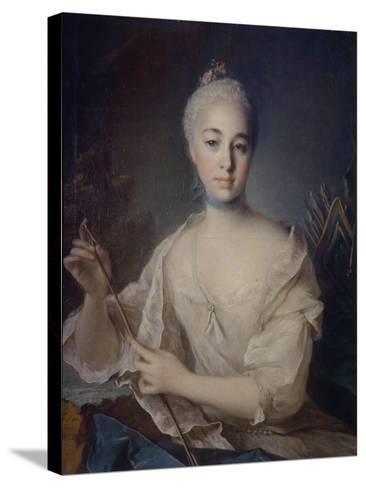 Portrait of Countess Anna Vorontsova (1743-176), Ca 1758-Louis Tocqué-Stretched Canvas Print