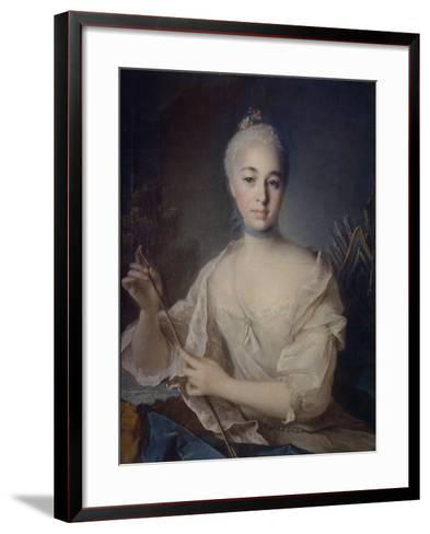 Portrait of Countess Anna Vorontsova (1743-176), Ca 1758-Louis Tocqué-Framed Art Print