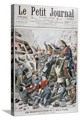 Cavalry Charge During the Demonstration for the 1st May in Paris, 1906--Stretched Canvas Print