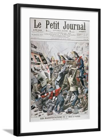 Cavalry Charge During the Demonstration for the 1st May in Paris, 1906--Framed Art Print
