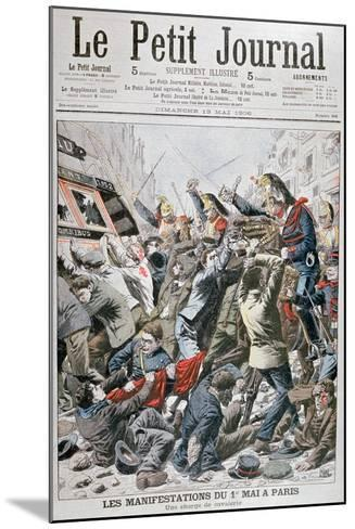 Cavalry Charge During the Demonstration for the 1st May in Paris, 1906--Mounted Giclee Print