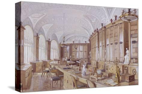 The Rossi Library in the Pavlovsk Palace-Anatoly Vladimirovich Treskin-Stretched Canvas Print