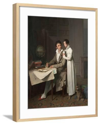 The Geography Lesson (Portrait of Monsieur Gaudry and His Daughte)-Louis-L?opold Boilly-Framed Art Print