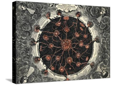 Sectional View of the Earth, Showing Central Fire and Volcanoes, 1665--Stretched Canvas Print