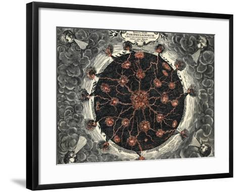 Sectional View of the Earth, Showing Central Fire and Volcanoes, 1665--Framed Art Print