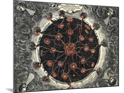 Sectional View of the Earth, Showing Central Fire and Volcanoes, 1665--Mounted Giclee Print