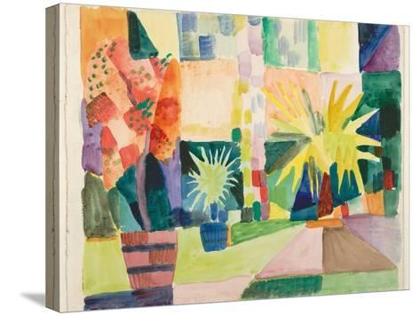 Garden on Lake Thun (Pomegranate Tree and Palm in the Garde), 1914-August Macke-Stretched Canvas Print