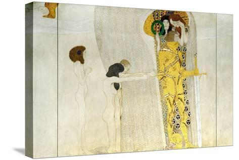 The Beethoven Frieze, Detail: Knight in Shining Armor, 1902-Gustav Klimt-Stretched Canvas Print