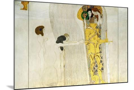 The Beethoven Frieze, Detail: Knight in Shining Armor, 1902-Gustav Klimt-Mounted Giclee Print