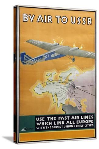 By Air to USSR (Poster of the Intourist Compan), 1934-Konstantin Bor-Ramensky-Stretched Canvas Print
