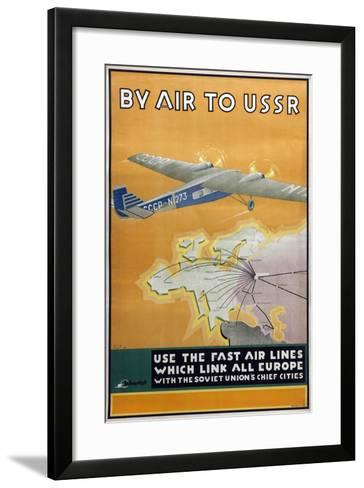 By Air to USSR (Poster of the Intourist Compan), 1934-Konstantin Bor-Ramensky-Framed Art Print