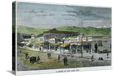 A Street in Salt Lake City, Utah, USA, C1880--Stretched Canvas Print
