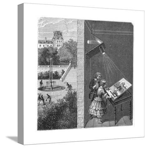 Children Watching an Outdoor Scene Through a Camera Obscura, 1887--Stretched Canvas Print