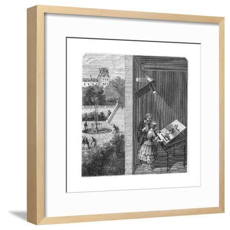 Children Watching an Outdoor Scene Through a Camera Obscura, 1887--Framed Art Print