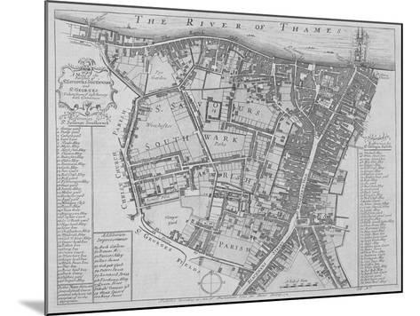 Map of the Parishes of St George's and St Saviour'S, Southwark, London, 1755--Mounted Giclee Print