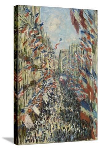 The Rue Montorgueil in Paris, Celebration of June 30, 1878, 1878-Claude Monet-Stretched Canvas Print