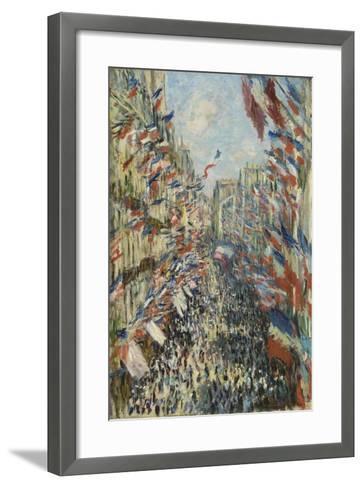 The Rue Montorgueil in Paris, Celebration of June 30, 1878, 1878-Claude Monet-Framed Art Print