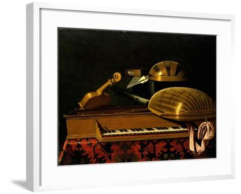 Still Life with Musical Instruments and Books, Mid of 17th C-Bartolomeo Bettera-Framed Art Print