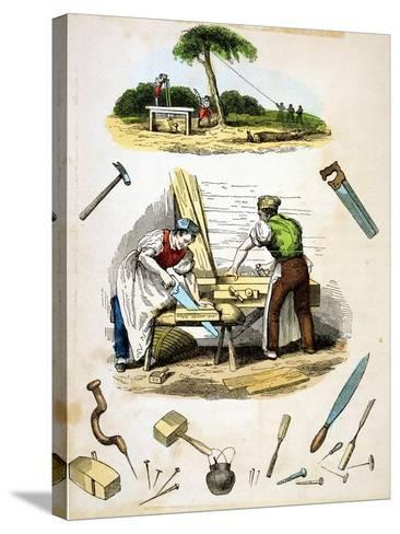 Carpenters at Work, Surrounded by Various Tools, C1845--Stretched Canvas Print