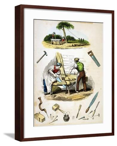 Carpenters at Work, Surrounded by Various Tools, C1845--Framed Art Print