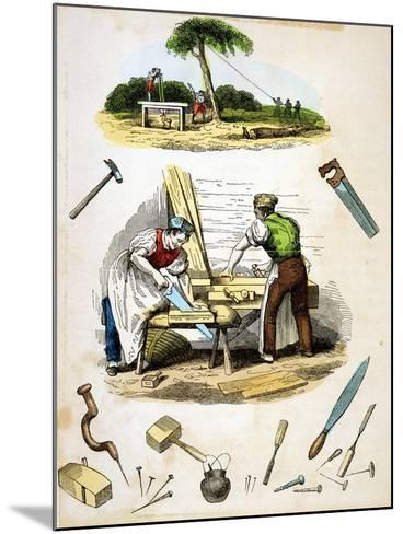 Carpenters at Work, Surrounded by Various Tools, C1845--Mounted Giclee Print