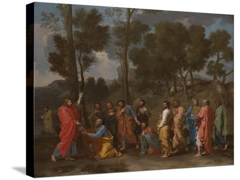 The Sacrament of Ordination (Christ Presenting the Keys to Saint Pete)-Nicolas Poussin-Stretched Canvas Print