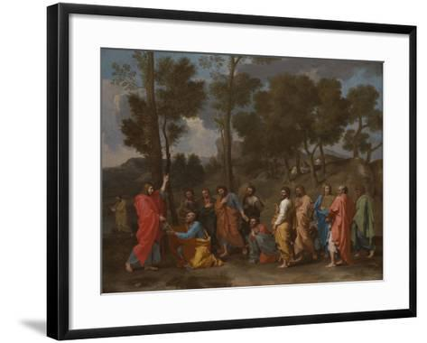 The Sacrament of Ordination (Christ Presenting the Keys to Saint Pete)-Nicolas Poussin-Framed Art Print