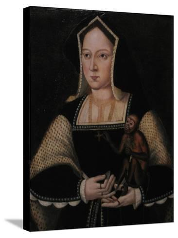 Portrait of Catherine of Aragon, with Her Pet Monkey (Copy after Lucas Horenbou), Ca 1530--Stretched Canvas Print