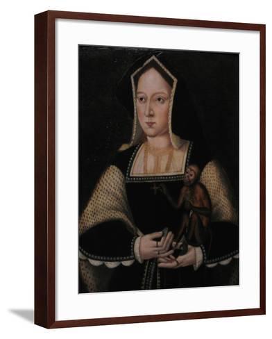 Portrait of Catherine of Aragon, with Her Pet Monkey (Copy after Lucas Horenbou), Ca 1530--Framed Art Print
