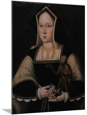 Portrait of Catherine of Aragon, with Her Pet Monkey (Copy after Lucas Horenbou), Ca 1530--Mounted Giclee Print