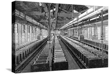 Manufacture of Electric Batteries, USA, 1887--Stretched Canvas Print