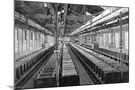 Manufacture of Electric Batteries, USA, 1887--Mounted Giclee Print