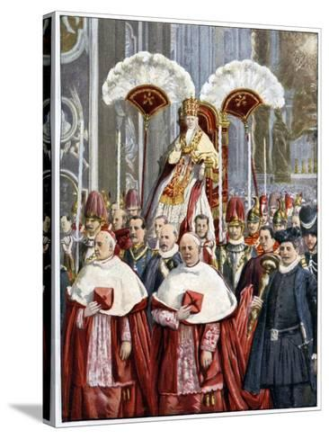 Pope Leo XIII in the Basilica of Saint Peter, Rome, 1900--Stretched Canvas Print