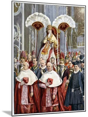 Pope Leo XIII in the Basilica of Saint Peter, Rome, 1900--Mounted Giclee Print