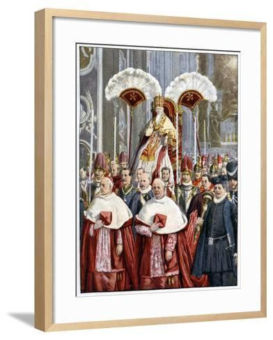 Pope Leo XIII in the Basilica of Saint Peter, Rome, 1900--Framed Art Print