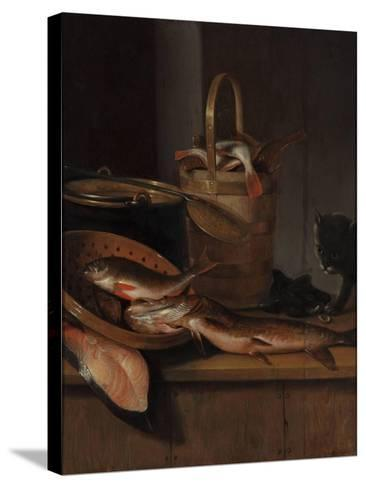 Still Life with Fish and a Cat, C. 1650-1660-Wallerant Vaillant-Stretched Canvas Print
